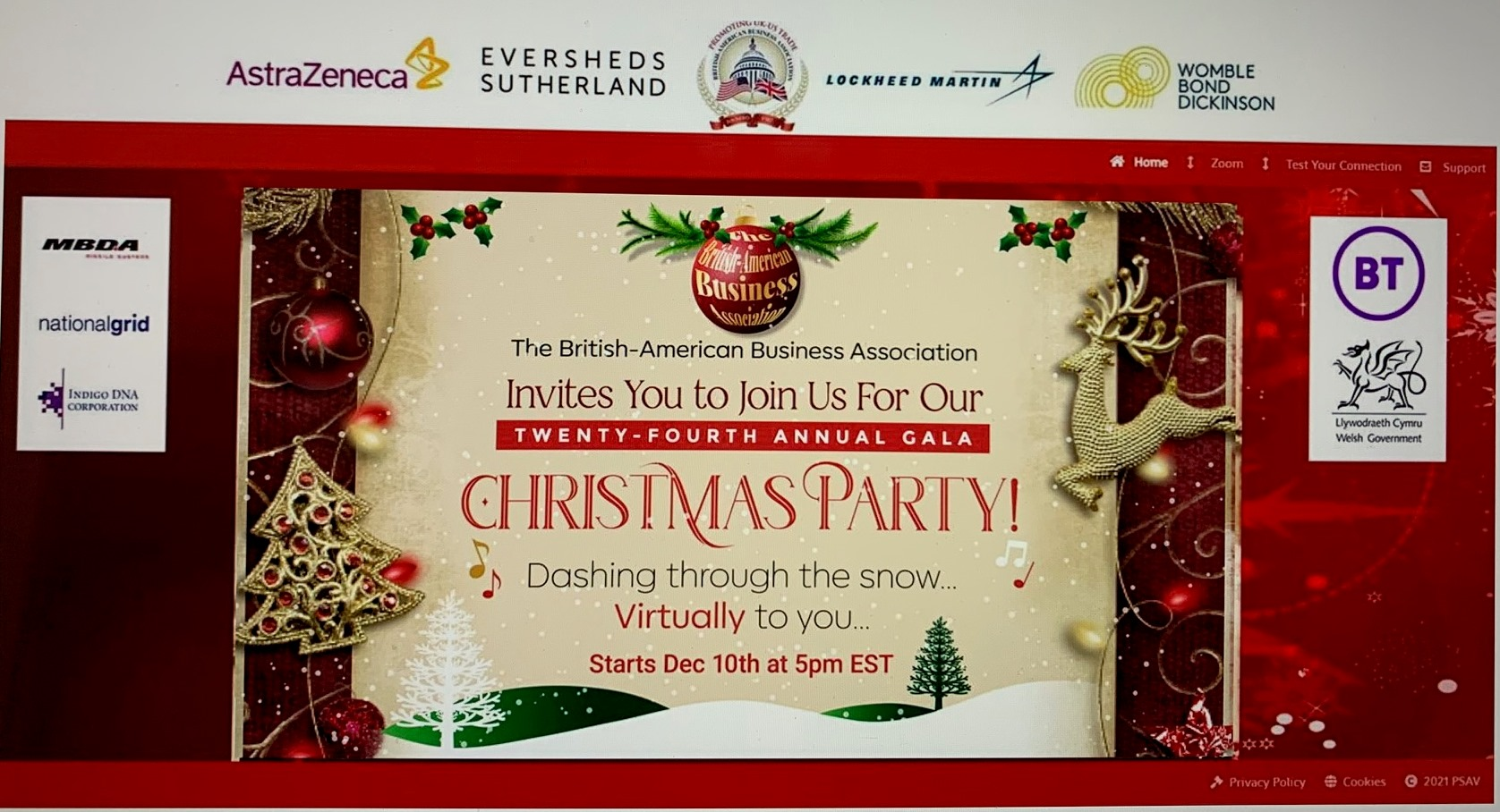 Christmas Gala 2021 24th Annual Gala Christmas Party British American Business Association Baba